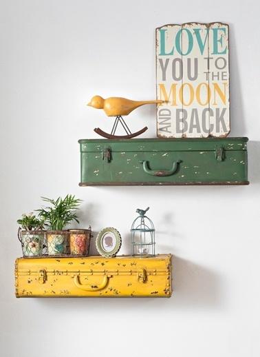 Warm Design Açılabilir Bavul Dekorlu Raf Sarı